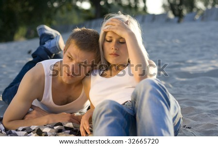 Couple in fight - stock photo