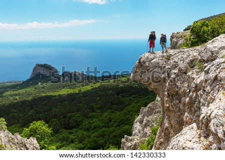 couple in hike - stock photo