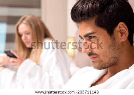 Couple in Hotel Room  - stock photo