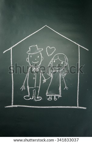 couple in love a a house - stock photo