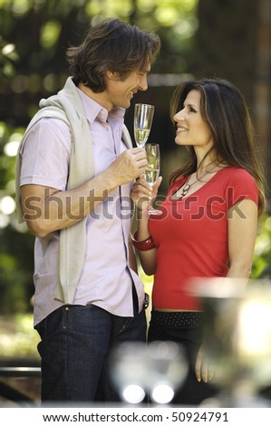 couple in love celebrating - stock photo