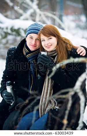 Couple in love drinking tea - stock photo