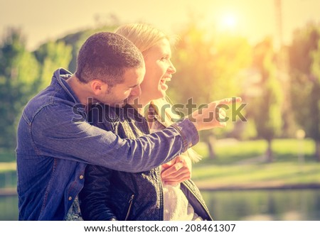 couple in love in autumn - stock photo