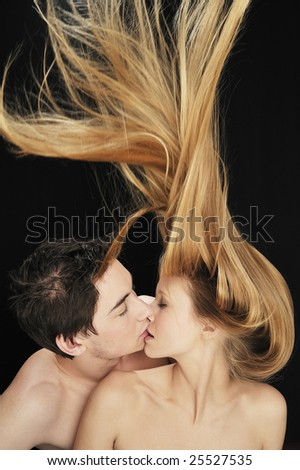 Couple in love kissing each other - stock photo