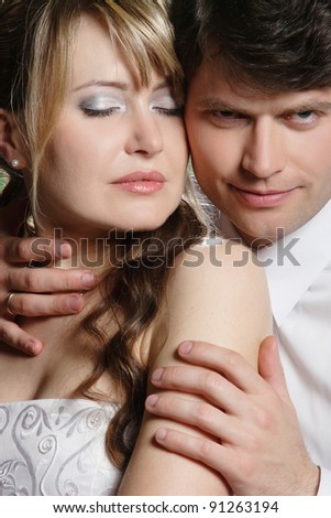 couple in love on studio shooting - stock photo