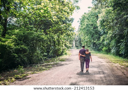 couple in love, sweet romance - stock photo