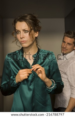 Couple in the restroom. - stock photo
