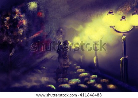 Couple in victorian costumes walk in the fog on the track near the burning lanterns - stock photo