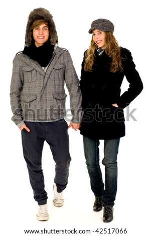 Couple in winter clothes - stock photo
