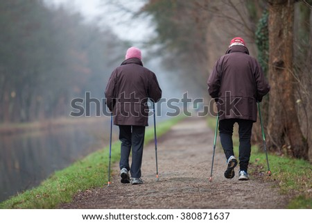 Couple is walking - stock photo