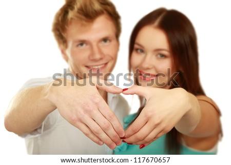 Couple, isolated on white background - stock photo