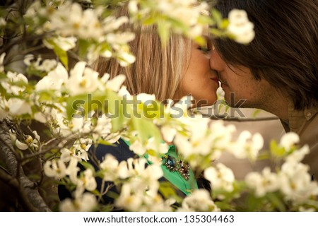 couple kissing in shade of dogwood blossoms - stock photo