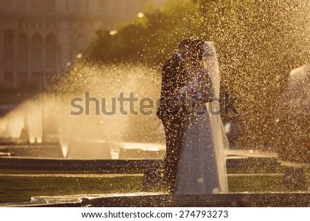 Couple kissing, wedding - stock photo