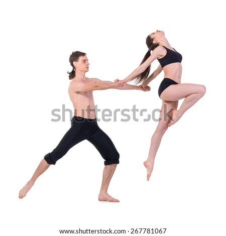 couple man and woman exercising fitness dancing, isolated on white in full length - stock photo