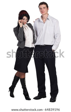 Couple man woman together isolated - stock photo