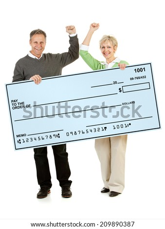 Couple: Mature Couple Holds Up Blank Giant Check - stock photo