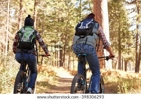 Couple mountain biking through forest, back view - stock photo