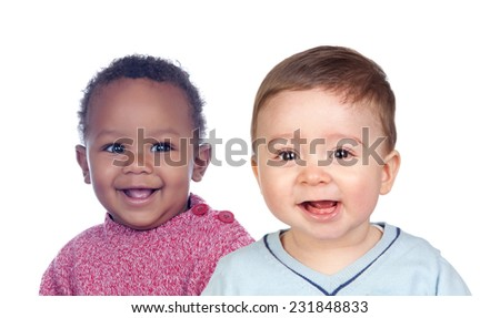 Couple of baby isolated on a white background - stock photo