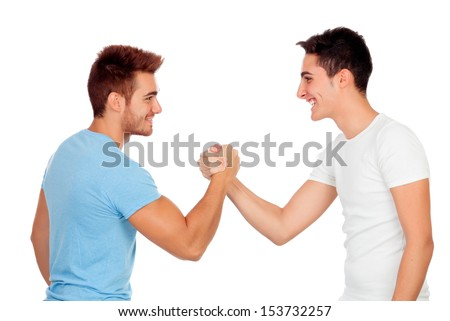 Couple of best friends shaking hands isolated on a white background - stock photo