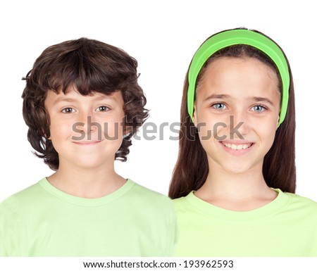 Couple of children isolated on a white background - stock photo