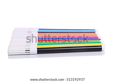 Couple of Colorful sketch pen are arranged sequentially - stock photo