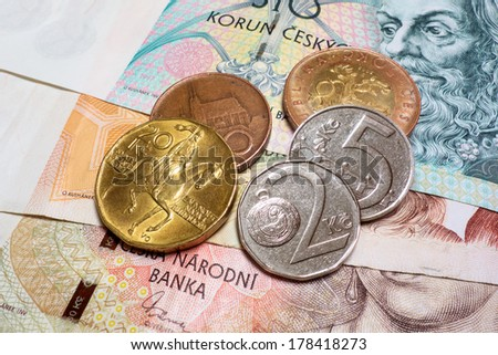 Couple of Czech Crown banknotes and coins close-up - stock photo