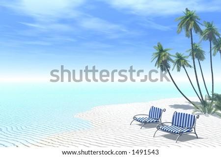 couple of deckchairs on a tropical beach - stock photo
