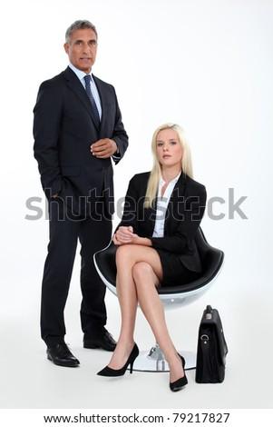 couple of executive waiting - stock photo