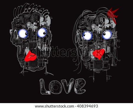 Couple of futuristic robots in love, hand drawn on black - stock photo