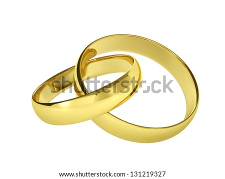 couple of gold wedding rings, isolated on white background - stock photo