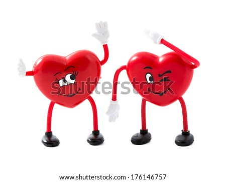 Couple of hearts very in love and pretty happy. Valentine day concept. Happiness in the life of two - stock photo