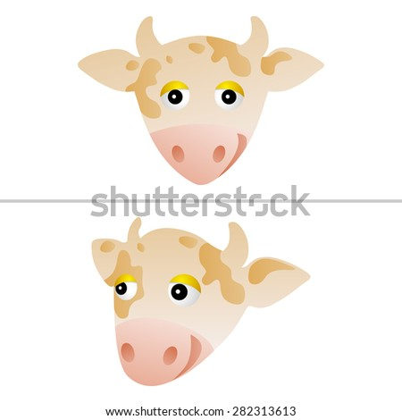 couple of isolated cute cow portraits - stock photo