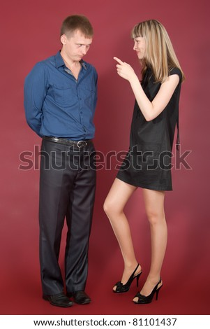 Couple of lovers abuses each other - stock photo