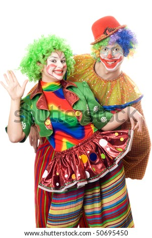 Couple of playful clowns. Isolated on white - stock photo