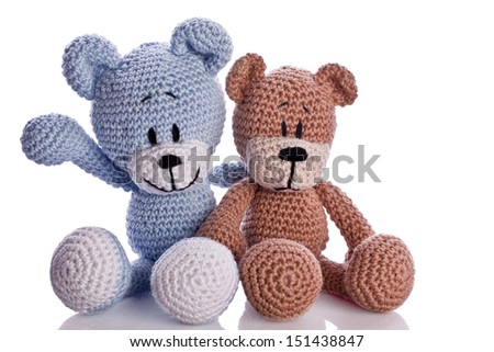 couple of teddy bear relationship in love  - stock photo