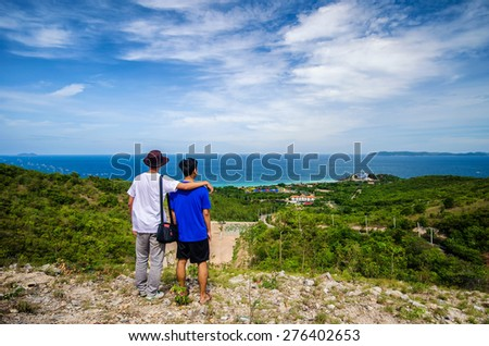 Couple of tourist on Larn Island , Pattaya , Thailand - stock photo