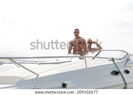 Couple on a boat - stock photo