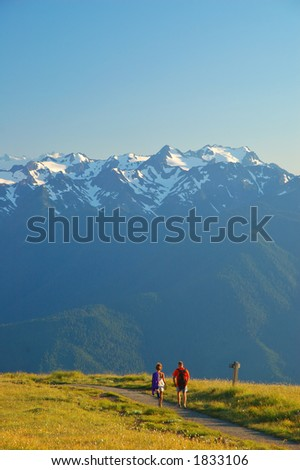 Couple on a hiiking trail in Olympic National Park in Washigton State - stock photo