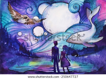 Couple on the beach. Mystical watercolor illustration - stock photo