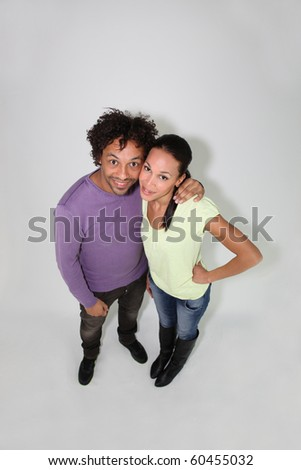 Couple on white background - stock photo