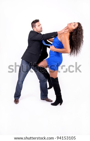 couple playing and flirting in sensual position - stock photo