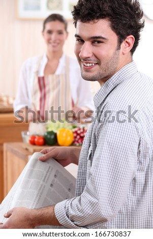 Couple preparing lunch - stock photo