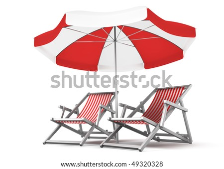 Couple's Place. Deck chairs and umbrella, isolated on white background. 3D-rendered image - stock photo