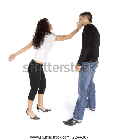 couple's quarrel - woman hitting man (white background) - stock photo