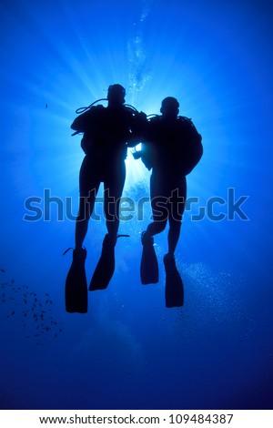 Couple Scuba Diving - stock photo