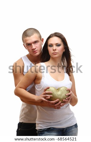 Couple Sexy and gold heart - stock photo