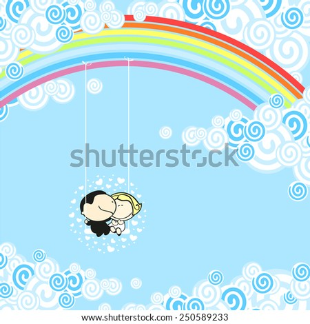 Couple sitting in a rainbow swing (raster version) - stock photo