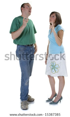 Couple standing together deep in thought. - stock photo