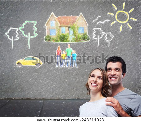 Couple thinking about new home and car. Mortgage background. - stock photo