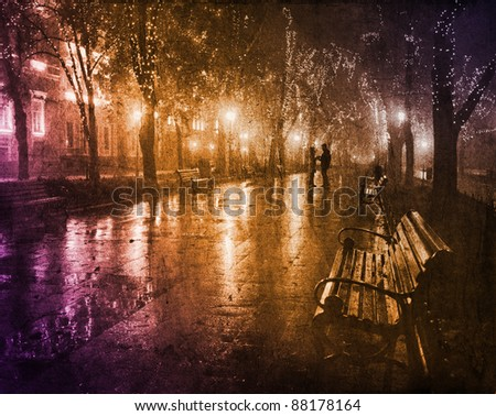 Couple walking at alley in night lights. Photo in vintage multicolor style. - stock photo
